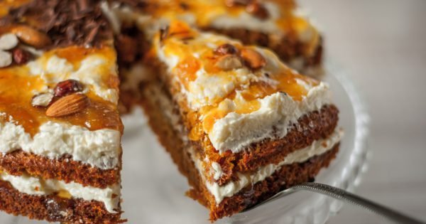 Carrot cake with almonds and chocolate chips horizontal