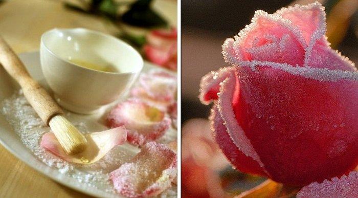 засахаренные цветы рецепт
