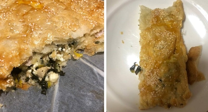 Слоеный пирог со шпинатом, курицей и луком-пореем