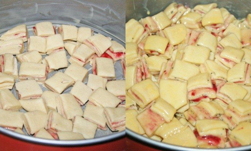 слоеный пирог кубиками в духовке