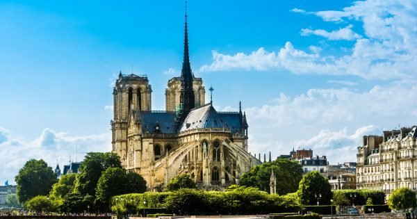 "Cathedrale Notre-Dame de Paris, ""Our Lady of Paris"" is a beautiful cathedral on the Ile de la Cite in Paris.; is an important example of French Gothic architecture, sculpture and stained glass"