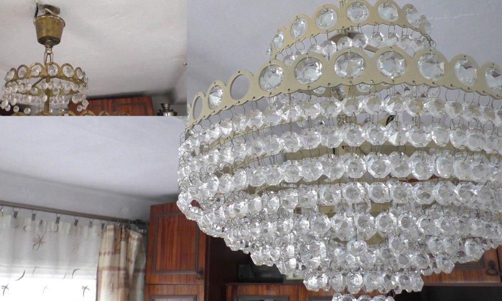 Новая жизнь старой советской люстры с висюльками, каскадом болтающимися под потолком