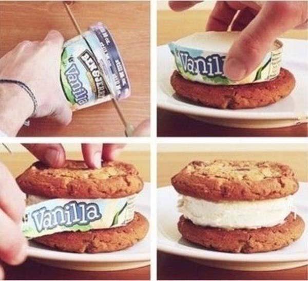 мороженое на печенье