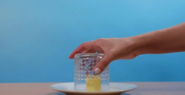 масло в горячем стакане
