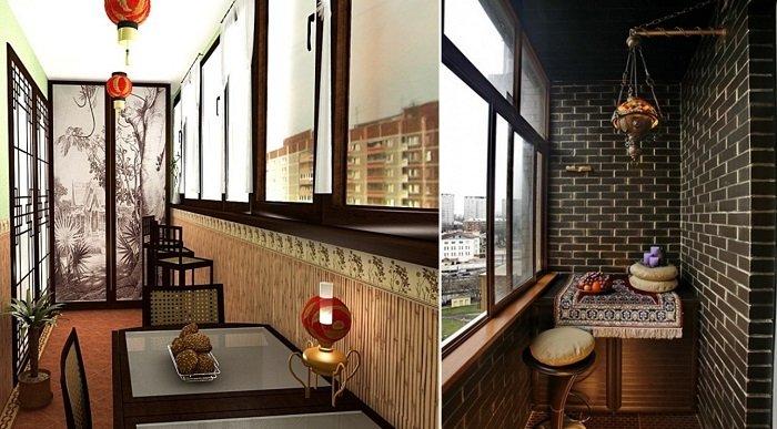 стильный дизайн балкона со шкафом