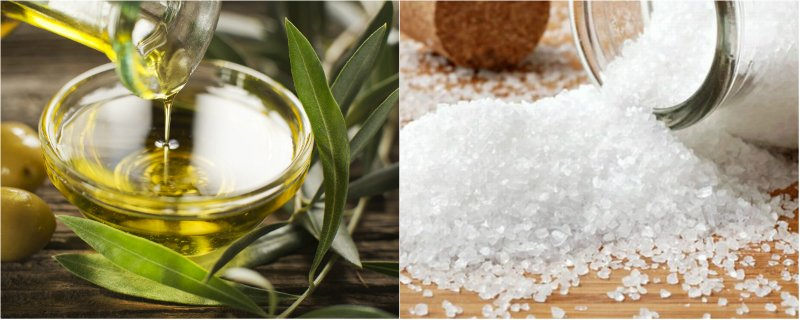 соль и оливковое масло