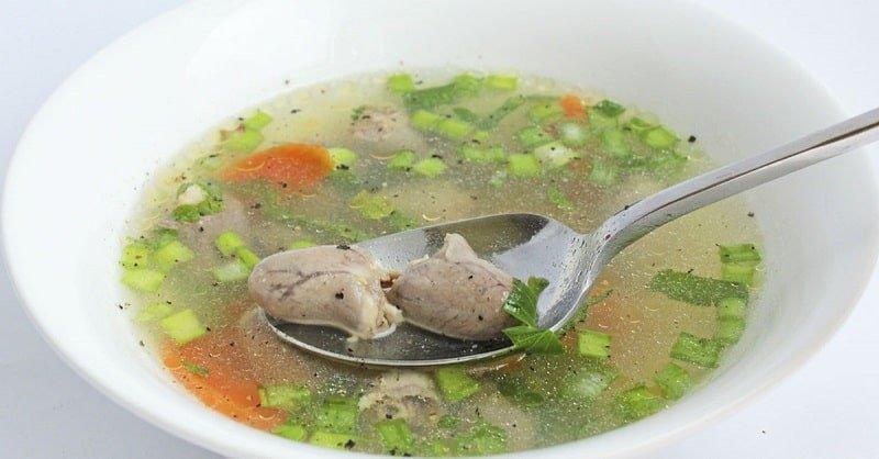 Инструкция по приготовлению супа с вермишелью и куриными сердечками