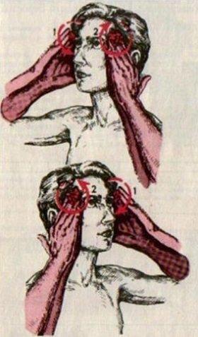 массаж височной части лба