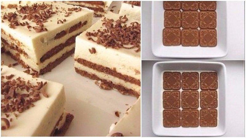 торт без выпечки из песочного печенья