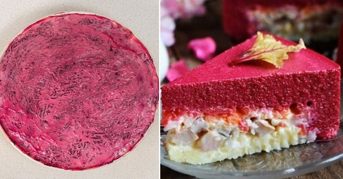 торт з оселедця і грибів