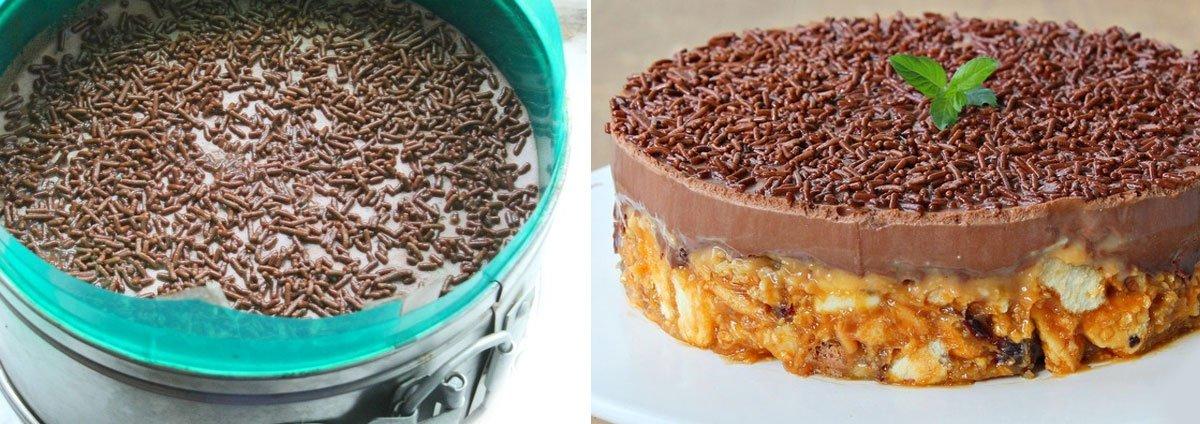 Торт из сметаны и печенья без выпечки, шоколадный десерт