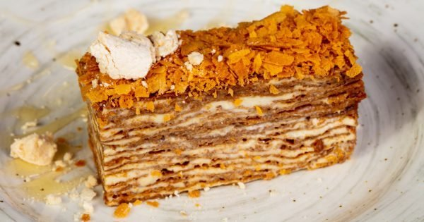 Layered honey cake with nuts