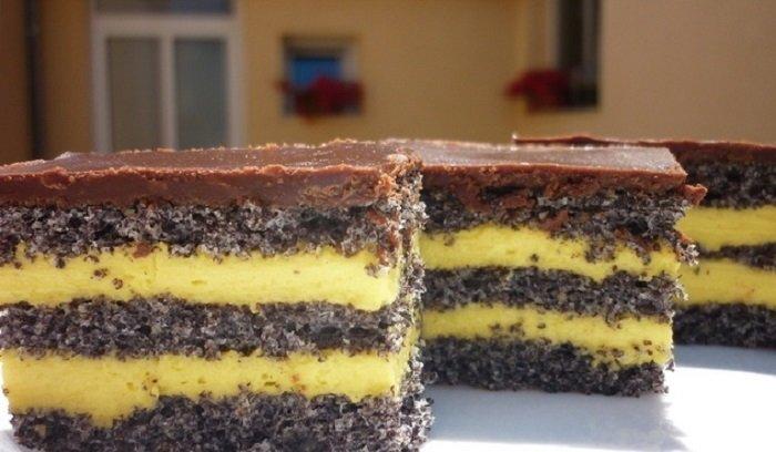 торт с маком и сгущенкой