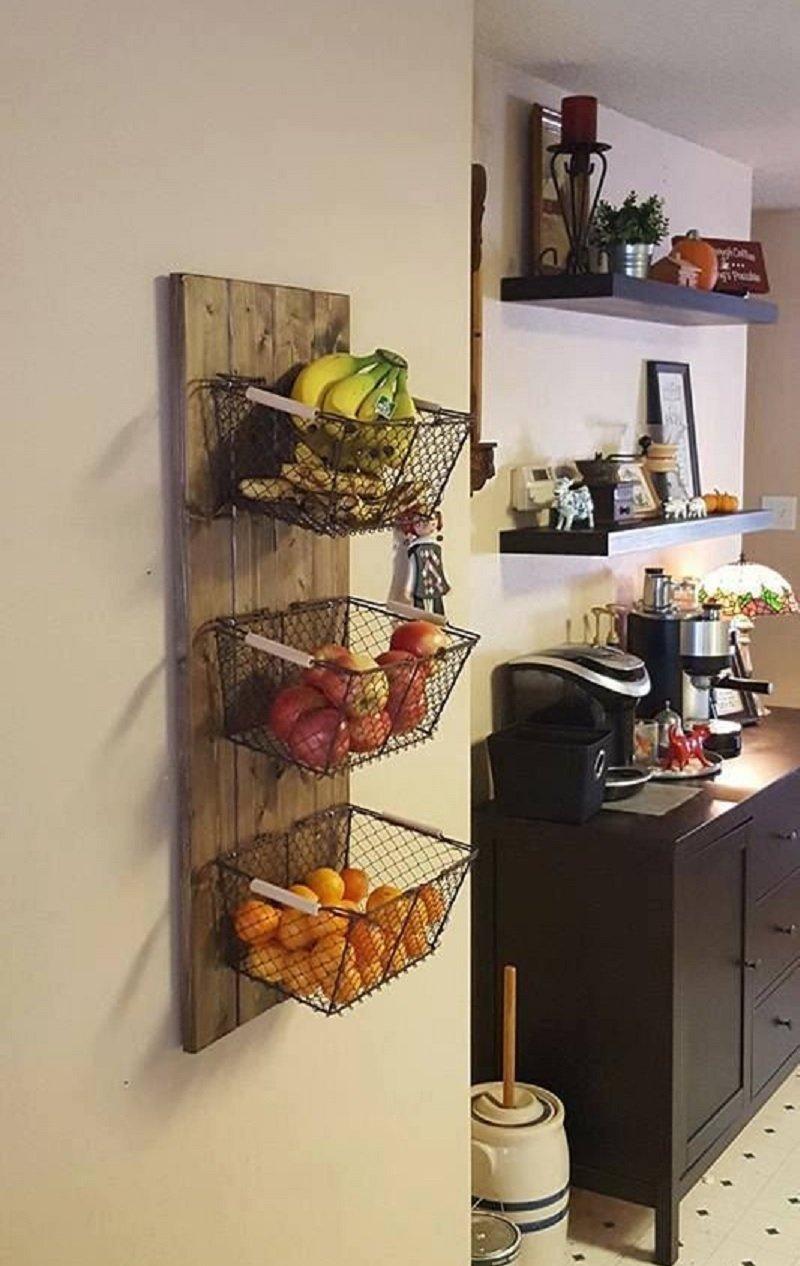корзина с фруктами на стене