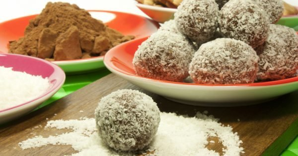 sweet chocolate balls covered in coconut flakes.