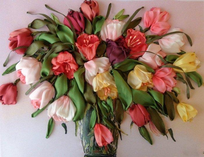 тюльпаны из лент вышивка