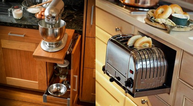 как спрятать бытовую технику на кухне