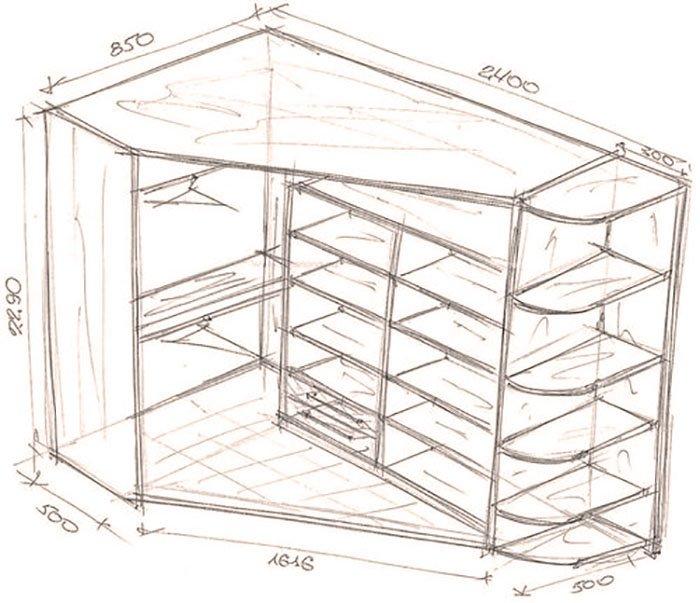 угловой шкаф купе с кроватью