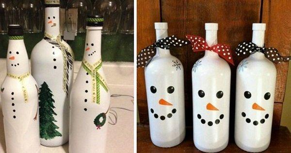новогоднее украшение стеклянных бутылок