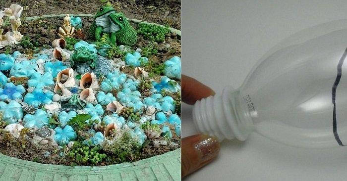 украшения для сада из пластиковых бутылок