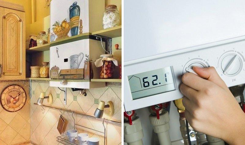 как спрятать газовый котел и счетчик на кухне