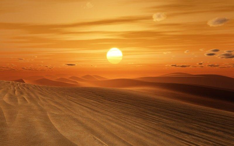 закат солнца в пустыне