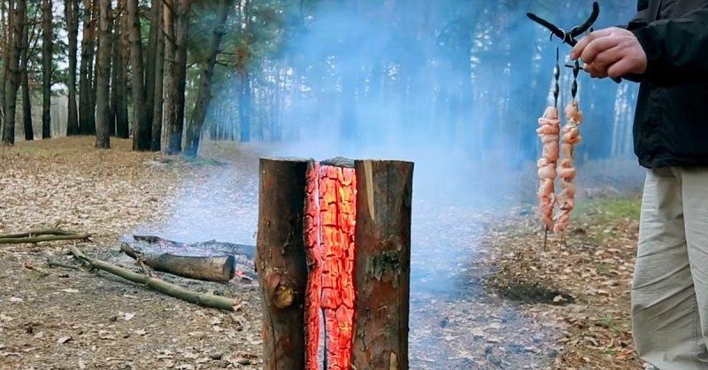 финская свеча костер