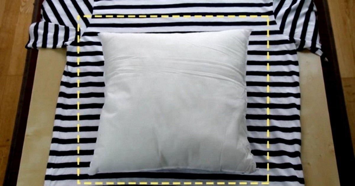 Как из футболки сшить подушку 52