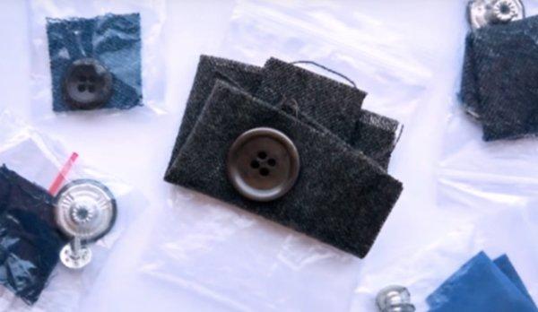 skartovať tkaniny s tlačidlom