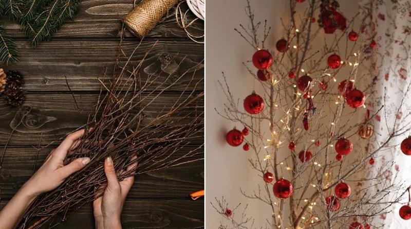 Праздничное украшение дома сухими ветками, напоминающими рога Быка
