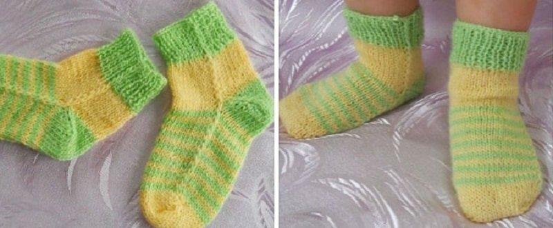 вязание носков на двух спицах