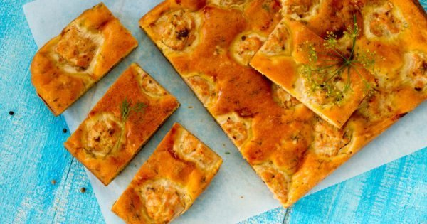 Pie with fish meatballs in a rustic style