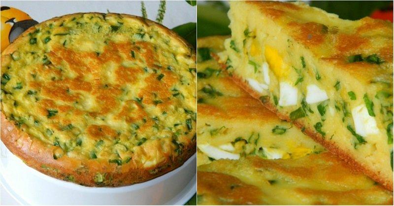 заливной пирог с зеленым луком