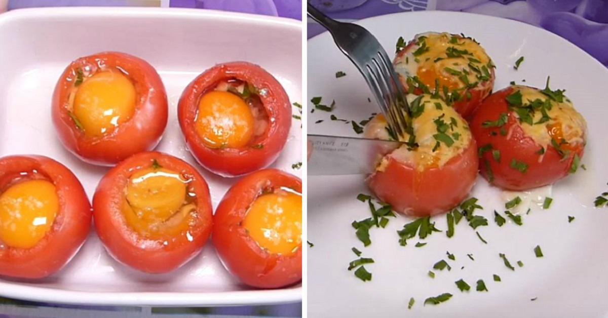 Как приготовить запеченные помидоры с яйцами thumbnail