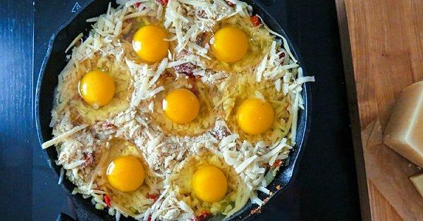 запеченные яйца в сковороде
